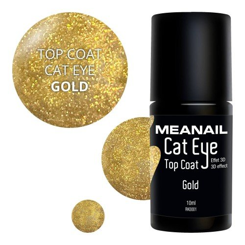 Image de vernis Top Coat Cat Eye Gold
