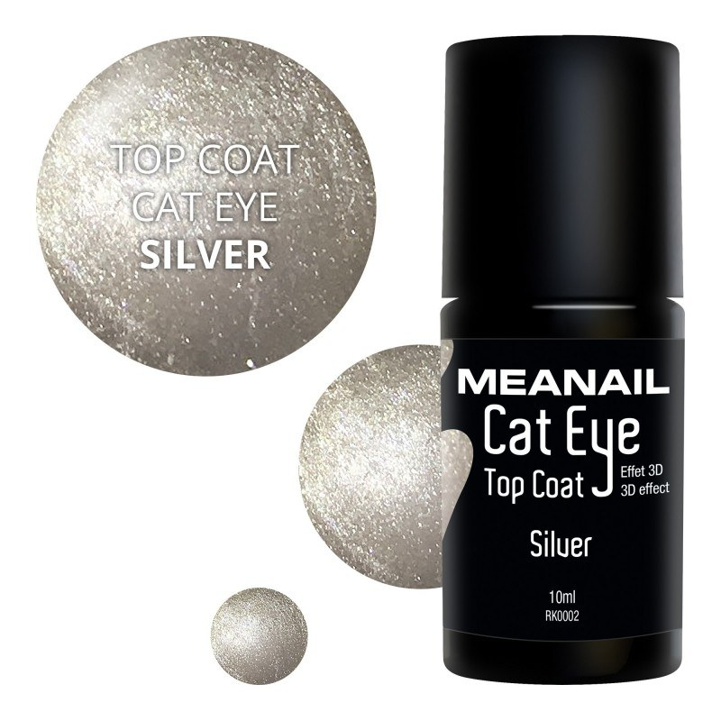 Image de vernis Top Coat Cat Eye Silver