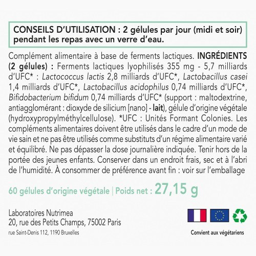 Probiotiques Actibior - hautement dosés - 60 gelules