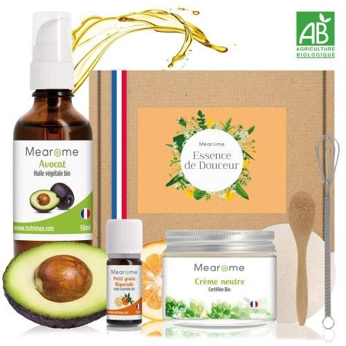 Kit Nourrissant & Hydratant - Cosmétique Maison Bio - Huile d'Avocat, Huile essentielle Petit Grain Bigarade, Crème neutre
