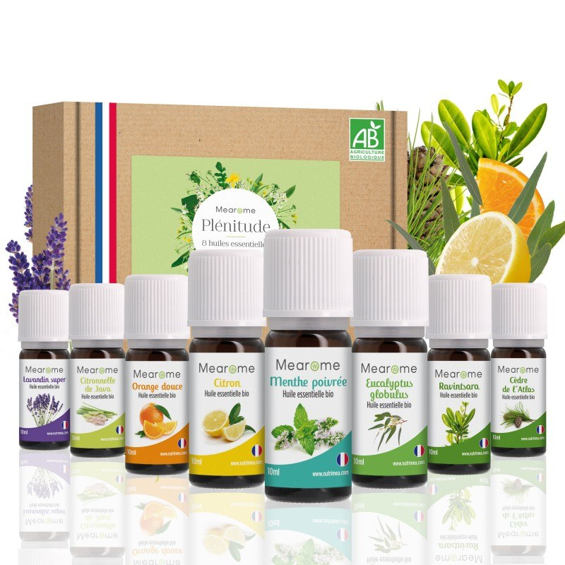 Aromathérapie - Coffret Plénitude Mearôme - 8 huiles essentielles bio