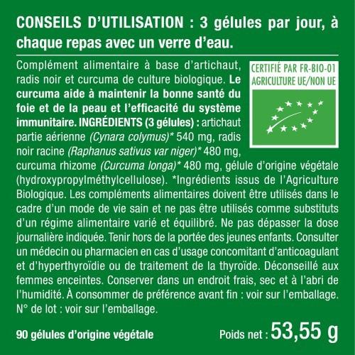 Artichaut-Curcuma-Radis noir biologiques - 90 Gélules