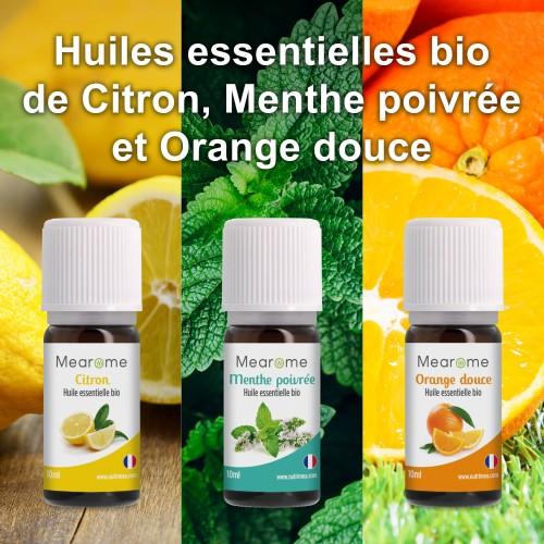 Photo du packaging du complément Aromathérapie - Coffret Initiation Mearome - 3 Huiles Essentielles BIO AB