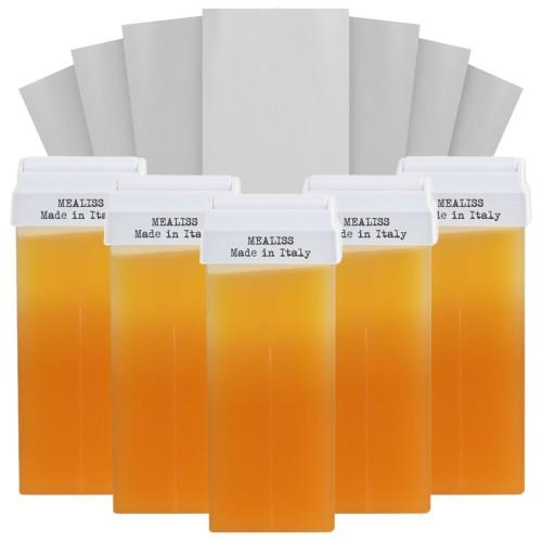 Kit 5 cartouches cire tiède au miel + 100 bandes - Pour tous types de peaux